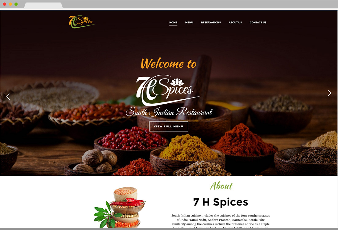 7 H Spices Website Home page