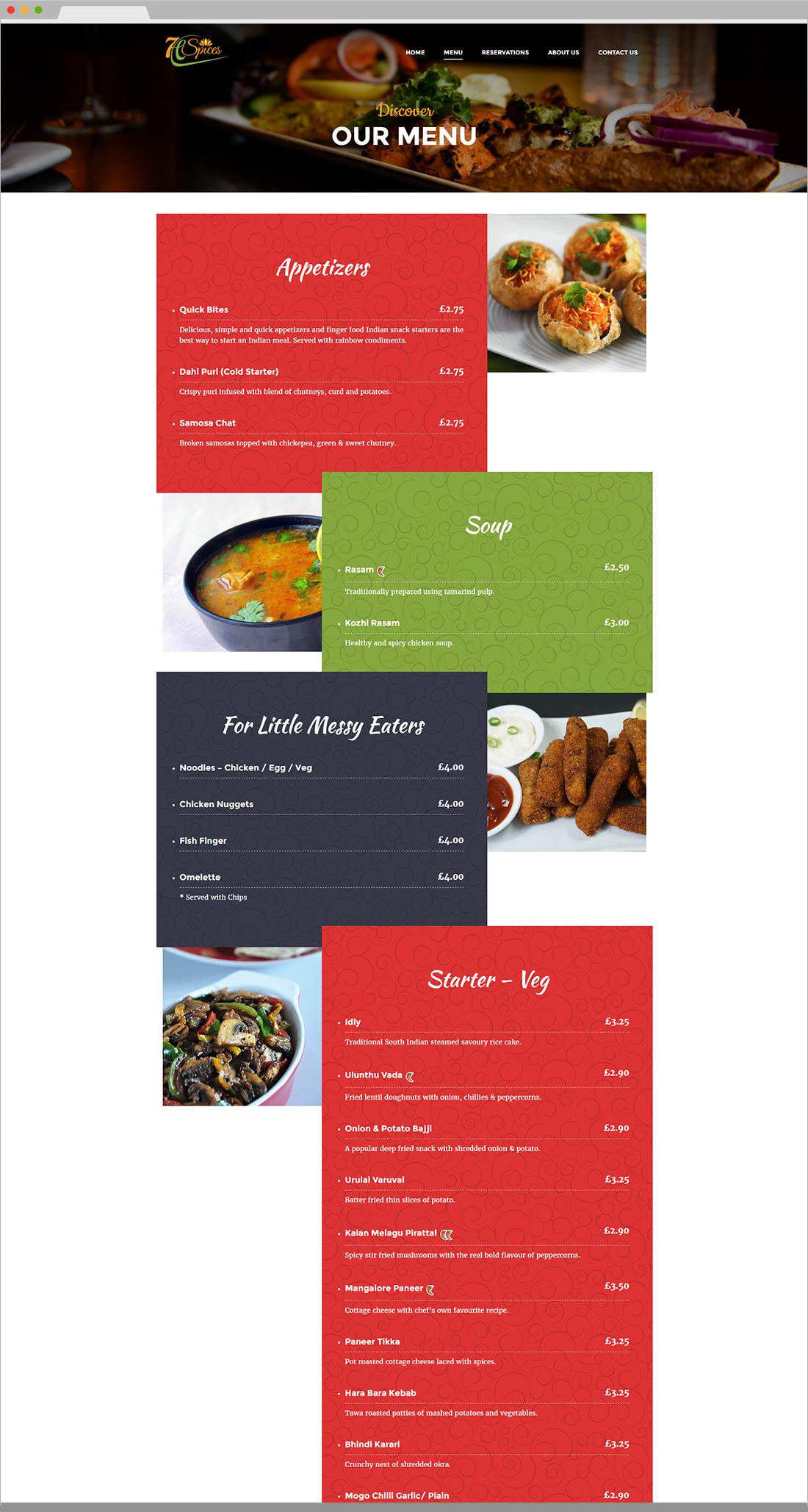 7 H Spices Website Inner Page